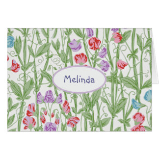 Sweet Pea Floral Pattern Personalized Monogram Card