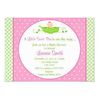 Sweet Pea Girl Baby Shower Invitation 5x7 Card