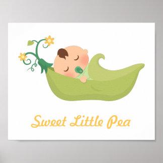 Sweet Pea in a Pod Baby Boy Nursery Room Decor Poster