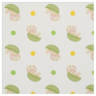 Sweet pea in the pod baby girl & polka dots yellow fabric