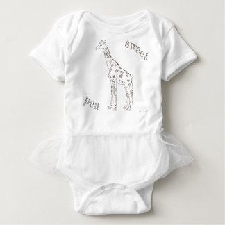 Sweet Pea Line Drawn Giraffe with Hearts Animal Baby Bodysuit