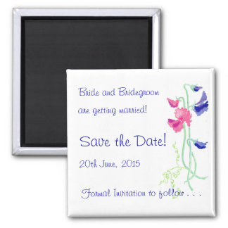 Sweet Pea Pink and Blue 'Save the Date' Magnet