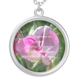 Sweet pea poetry silver plated necklace