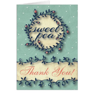 Sweet Pea Tea Birthday –Mint Blue Thank You Card