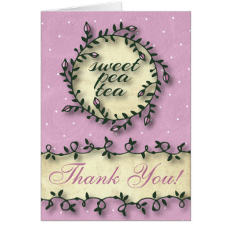 Sweet Pea Tea Birthday –Pink Thank You Note Card
