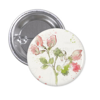 Sweet Pea watercolor 1 Inch Round Button