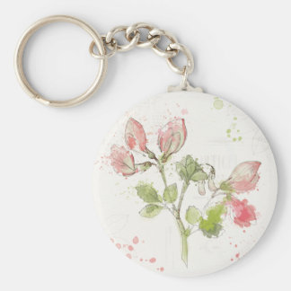 Sweet Pea watercolor Basic Round Button Keychain