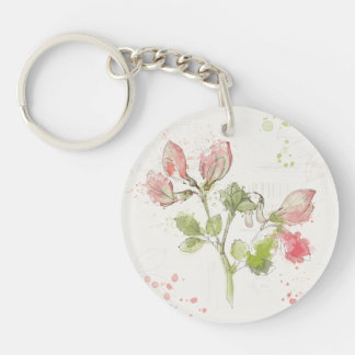 Sweet Pea watercolor Double-Sided Round Acrylic Keychain