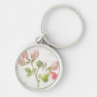 Sweet Pea watercolor Silver-Colored Round Keychain