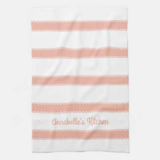Sweet Peach Ribbons Personalized Hand Towels