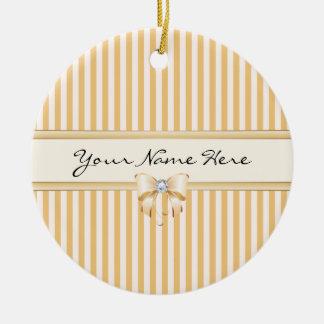 Sweet Peach Stripes with Shiny Ribbon Bow Ceramic Ornament