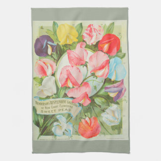 Sweet Peas: 1906 seed catalogue illustration Kitchen Towel