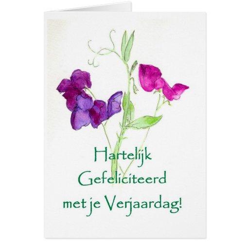 Sweet Peas Birthday Card - Dutch Greeting