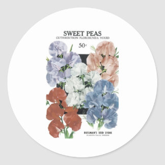 Sweet Peas, Bussman's Seed Classic Round Sticker