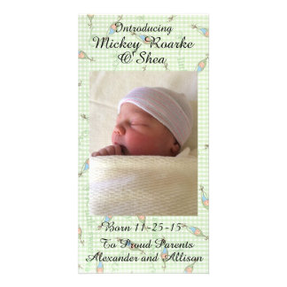 Sweet Peas in a Pod Baby Announcement 8x4 Photo Card