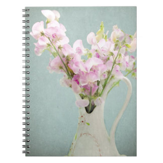 Sweet Peas in Antique Vase Spiral Note Book