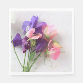Sweet peas on textured paper disposable napkins