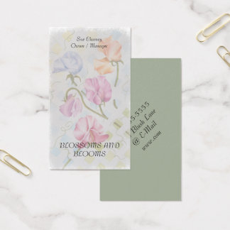 SWEET PEAS WATERCOLOR FLOWER BUSINESS CARDS