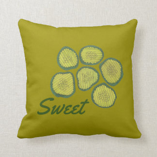 Sweet Pickle Chips Homemade Pickle Foodie Decor Throw Pillow