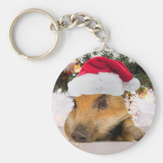 Sweet Pig In Santa Hat Christmas Tree Basic Round Button Keychain
