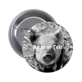 sweet piglet, black white button