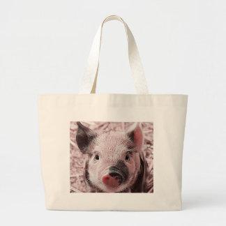 sweet piglet pink large tote bag