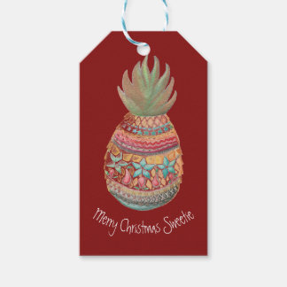 Sweet Pineapple Gift Tag Red