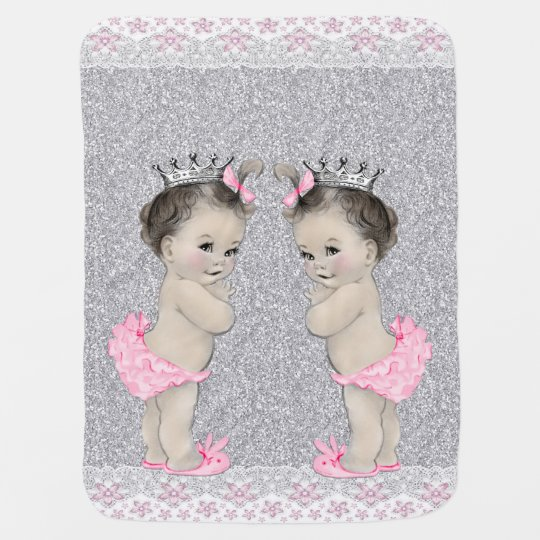 Sweet Pink and Grey Twin Girl Baby Receiving Blanket