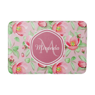 Sweet Pink Apple Blossom Floral With Monogram Bath Mat