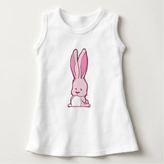 Sweet pink baby bunny drawing with pointed ears dress