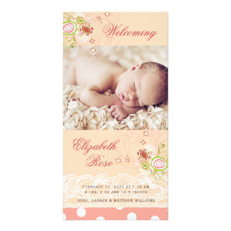 Sweet Pink Blooms Baby Girl Birth Announcement Card