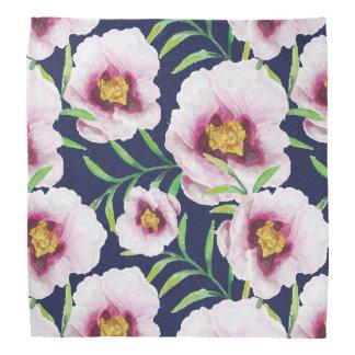 Sweet pink blue poppy vintage floral pattern bandanas