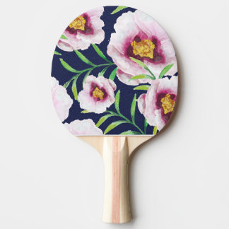 Sweet pink blue poppy vintage floral pattern ping pong paddle