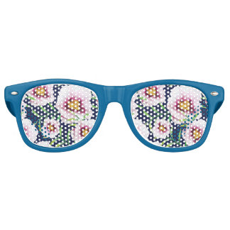 Sweet pink blue poppy vintage floral pattern sunglasses