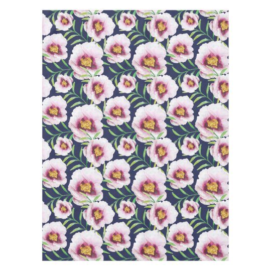 Sweet pink blue poppy vintage floral pattern tablecloth