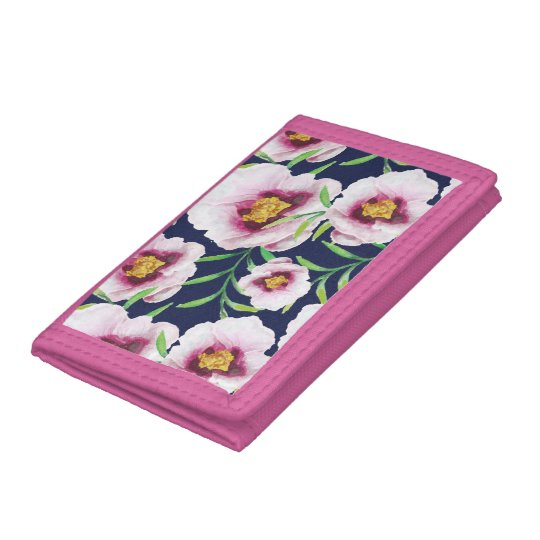 Sweet pink blue poppy vintage floral pattern tri-fold wallets