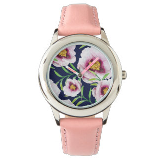Sweet pink blue poppy vintage floral pattern watches