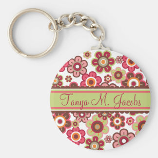Sweet Pink Candy Daisies Flowers Girly Pattern Fun Basic Round Button Keychain