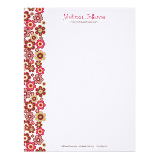 Sweet Pink Candy Daisies Flowers Girly Pattern Fun Letterhead