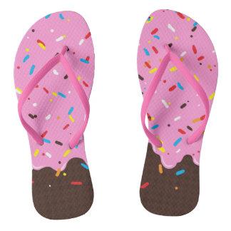 Sweet Pink Chocolate Treat Flip Flops