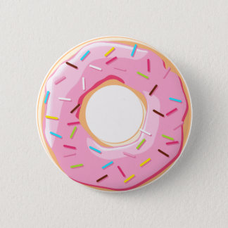 Sweet pink donuts with sprinkles toppings 2 inch round button
