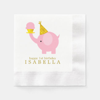 Sweet Pink Elephant Birthday Party Paper Napkins