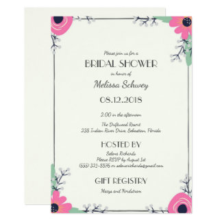 Sweet Pink Floral Bridal Shower Party Invitation