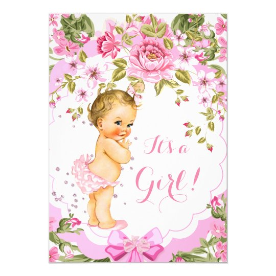 Sweet Pink Floral Rose Baby Shower Girl Blonde Card