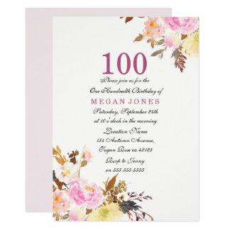 Sweet Pink Floral Script 100th Birthday Invitation