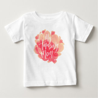 Sweet pink floral watercolor My amazing mom Baby T-Shirt