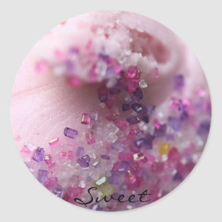 """'Sweet"""" Pink frosted cupcake with pink sugar Classic Round Sticker"""