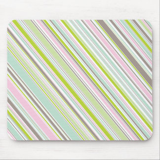 Sweet Pink Garden Stripes Fun Pattern Mousepad