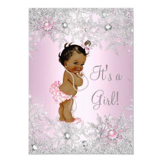 "Sweet Pink Girl Girl Baby Shower Snowflake Ethnic 5"" X 7"" Invitation Card"