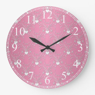 Sweet Pink Hearts Damask Floral Pattern Large Clock